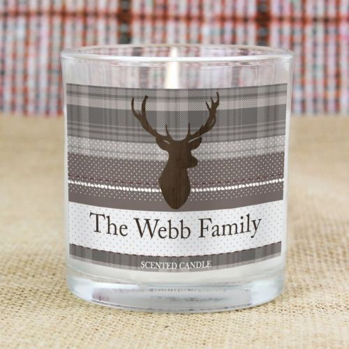 Personalised Highland Stag Scented Jar Candle